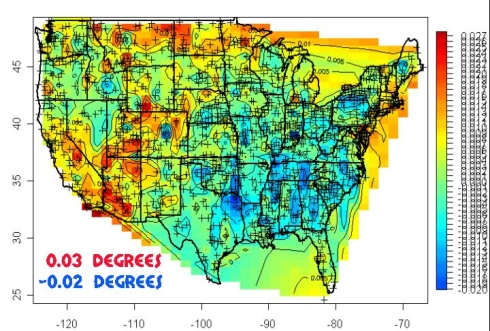 20th century temperature trends - USHCN raw data (lots of blue)